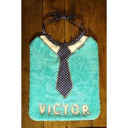 Bavoir cravate bleu sans prénom