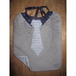 Bavoir cravate rayée blanche et bleue