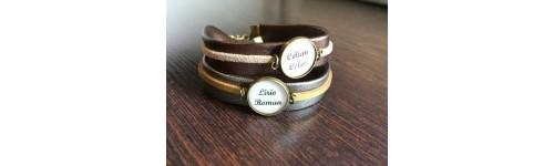Bracelet simili cuir médaillons